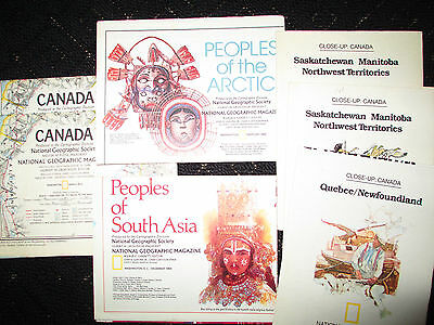 LOT OF 7 LARGE DS National Geographic Maps Canada Arctic India Pakistan Quebec
