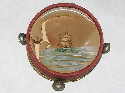 Antique German Dresden Tamborine Drum Painted Candy Container Christmas Ornament