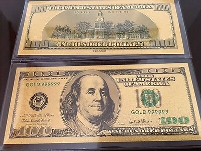 United State $100 One Hundred Dollar Banknote 24k Pure Gold with Deluxe Holder
