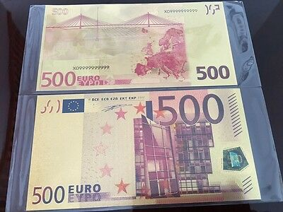 Euro $500 Five Hundred Dollar Banknote 24k Pure Gold Color with Currency Sleeves