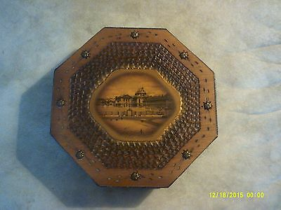 VINTAGE BARTON'S CHOCOLATE Pyrography Style Wooden Box with INSERT!