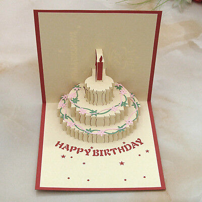 3D Pop Up Greeting Card Happy Birthday Party Invitation Valentines Day Gift