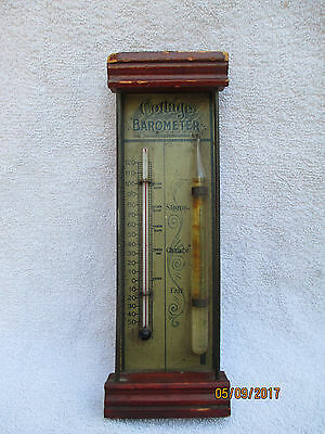 Antique Wood Tin & Glass Cottage Barometer Thermometer-Storm-Late 1800's