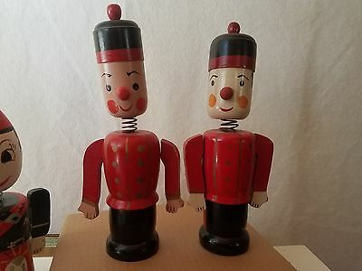 "Vintage Wooden Bobble Head Palace Guard Coin Banks Hand Painted Wood 11"" Tall"