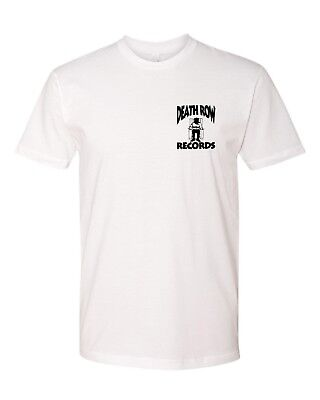 Death Row Records Left Chest Logo T-Shirt Hip Hop Tee New - White