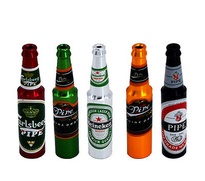 1pc Mini Beer Bottle Metal Pipe Creative Smoking  Pipes Colorful For Gift