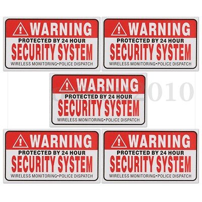 5x PROTECTED BY 24 HOUR WARNING SECURITY SYSTEM Stickers Safety Sign Vinyl Decal