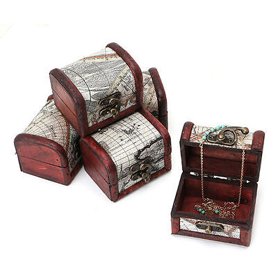 Wooden Pirate Map Jewellery Storage Box Case Holder Vintage Treasure Chest New