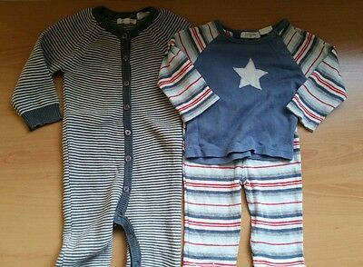 Pure Baby size 00 (3-6m) knitted one piece suit & striped PJ set with star - VGC