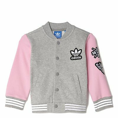 adidas Girls Baby Baseball Jacket Coat Infant Grey Pink Age 0 - 24 Months
