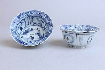 2x Wanli Kraak Klapmuts bowls, Antique Chinese Porcelain from the 17th century.