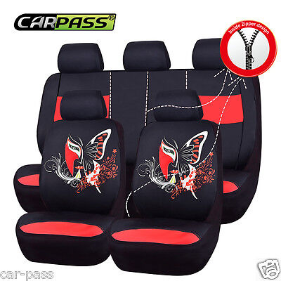 Universal BLACK RED Car Seat Covers China Face Fit Split Rear 40/60 Airbag Fit