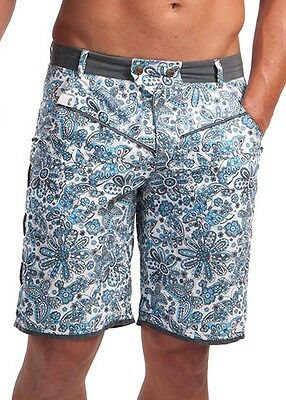 GERONIMO Mens Floral Board Shorts Blue White Flowered Swimming