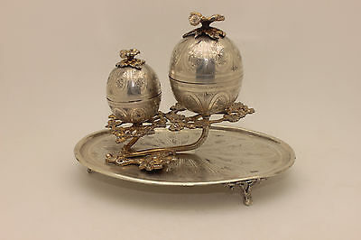 Antique Original Silver Ottoman Islamic Egg Style  Incensory Container