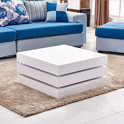 Luxury Modern White Coffee Table High Gloss with 3 Rotatable Square Layers
