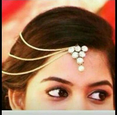 Indian Ethnic Pearl Matha Patti Maang Tikka Kundan Bollywood Forehead Jewelry