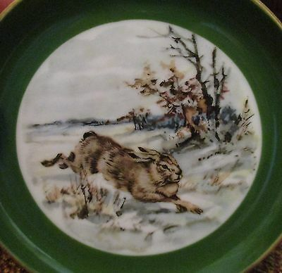 "Home Decor-RABBIT-Snow-Country Animal-W.GERMANY-Porcelain 4"" PLATE-Hare-Bunny"