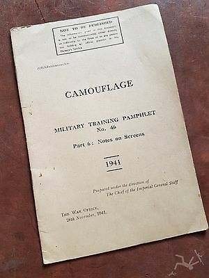WW2 British army camouflage training manual 1941 - Part 6 No 46 Notes on Screens