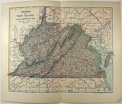 Original 1903 Map of Virginia & West Virginia by Dodd Mead & Company