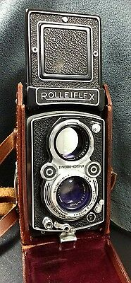 Rolleiflex 3.5f Automat Model 4 with leather case USED 120 TLR Rollei twin lens