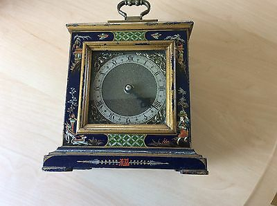 Chinese Blue Lacquered Chinoiserie Mantle Bracket Clock Hand Painted C1930