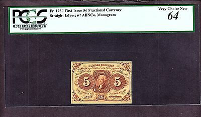 US 5c Fractional Currency 1st Issue w/ABC Monogram FR 1230 PCGS 64 Ch CU