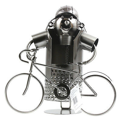 Cyclist Metal Wine Bottle Holder Stand Rack Home Kitchen Table Art Decoration