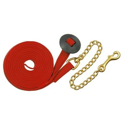 Tough-1 German Cord Cotton Lunge Line w/ Heavy Chain Red