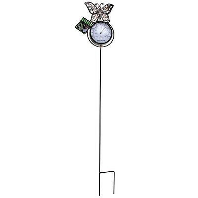 Butterfly Home Garden Outdoor Ornament Decoration On Ground Stake Thermometer