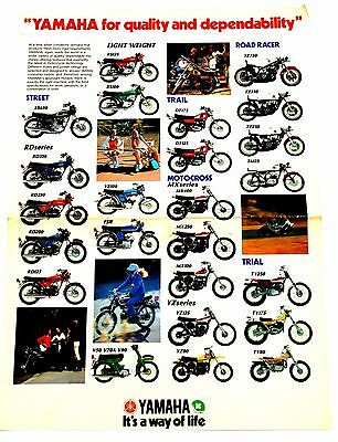 RARE 1975 YAMAHA UK MOTORCYCLE BROCHURE POSTER incl FS1E RD RS DT YZ TZ TY XS MX
