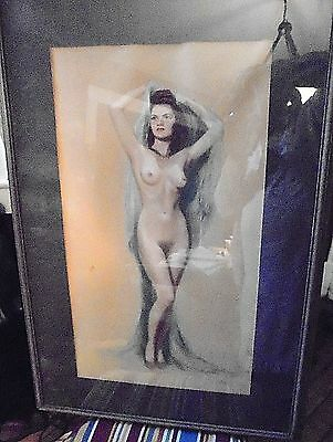 Antique/Vintage Pastel Nude Woman Drawing - Signed  31 x 21