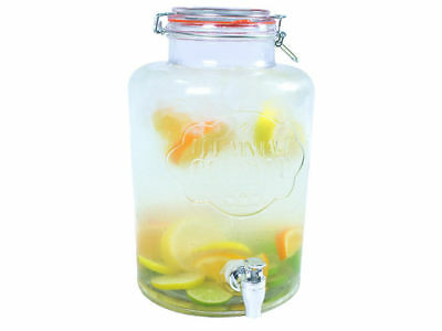 7.6L Drink Dispenser Water Cocktail Tap Juice Punch Party Glass Jar Home
