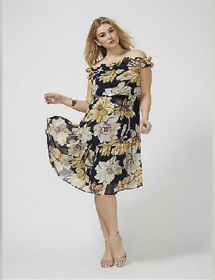 17e31b128c8  100 Lane Bryant FLORAL OFF THE SHOULDER MIDI SUMMER DRESS PLUS SIZE 26 28  22