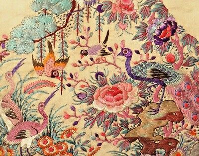 19th C. Qing Ching Dynasty Chinese Silk Embroidered Skirt Panel Segment