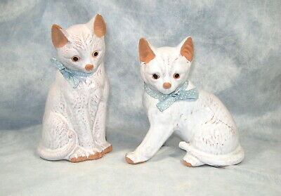Pair of (2) Vintage Clay WHITE CATS by Price Products