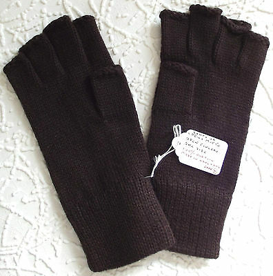 Vintage fingerless gloves UNUSED 1970s Stretchy brown Scrooge gloves Men women