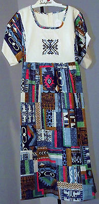 Vintage girls peasant dress UNUSED Age 10/11 MIDI LENGTH Ethnic print IMPERFECT