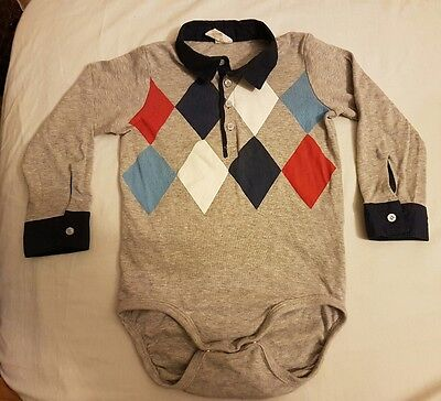 H&M Baby Boy Long Sleeve Polo T-Shirt Vest Grey Size 1 1/2- 2Years
