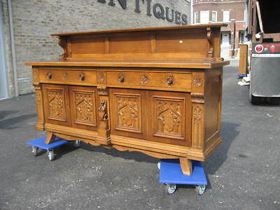 Antique Carved Oak Gothic Sideboard, buffet, cabinet.