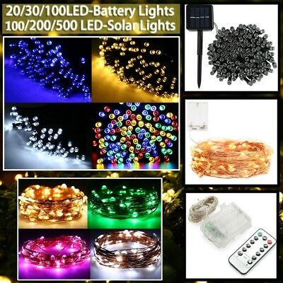 100 200 500 LED Solar/Battery Light Outdoor Fairy String Christmas Garden Lights