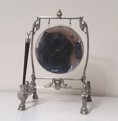 STUNNING  VICTORIAN 19th C SHEFFIELD SILVER PLATED DINNER GONG WITH STRIKER