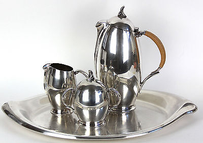 Vtg FLAIR by 1847 Rogers Bros. - COFFEE POT, CREAMER, SUGAR & TRAY Silverplate