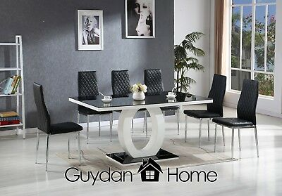 VENICE Black  White High Gloss Glass Dining Table Set And 6 Leather Chairs !