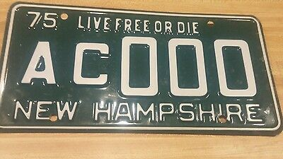 Vintage  1975 New Hampshire  Sample License plate # AC 000