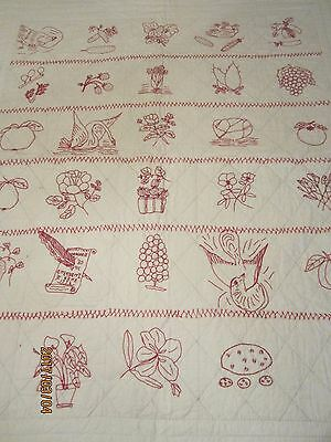 Antique Turkey Red Hand Embroidered Child's Quilt, Dated 1903, 114 Yrs., 44 X 52