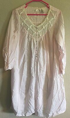 Eileen West Women's Pink Nightgown White Lace Trim Size Small