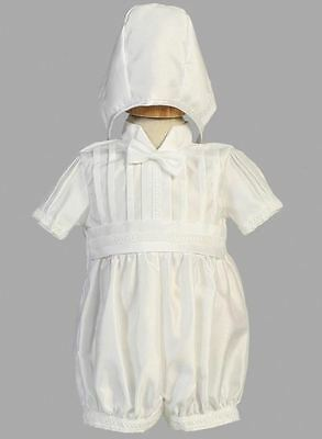 New Baby Boys White Shantung Romper Size 12-18 Months Christening Baptism