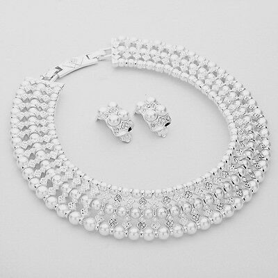 3-Row White Synthetic Pearl Choker Necklace & Earring Set Fashion Jewelry SW1