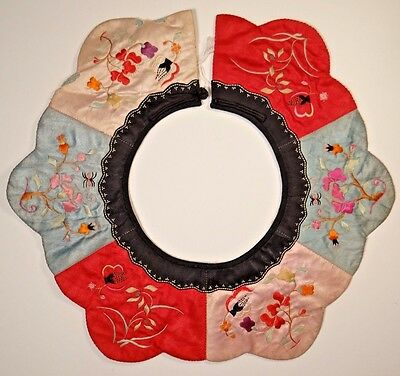 19th C. Qing [Ching] Dynasty. Chinese Silk Embroidered Child's Petal Collar