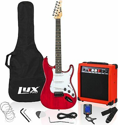 LyxPro Full Size Electric Guitar with 20w Amp Black